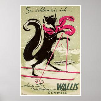 Wallis,Valais,Switzerland, Ski Poster