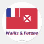 Wallis y bandera de Futuna con nombre Pegatina Redonda