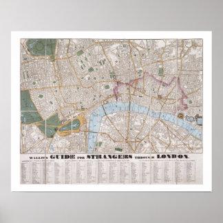 Wallis's Guide for Strangers Through London, 1841 Poster