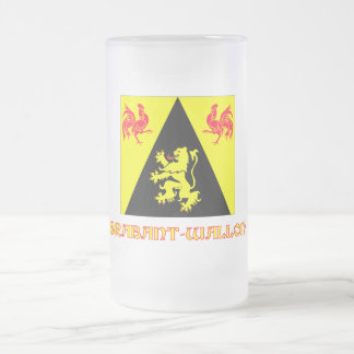 Walloon Brabant Flag with Name Frosted Glass Beer Mug