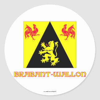 Walloon Brabant Flag with Name Round Sticker