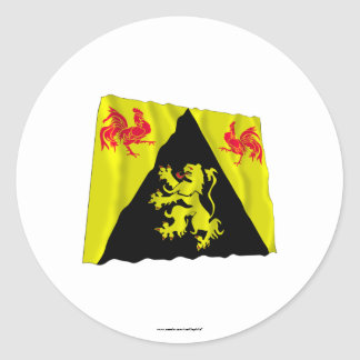 Walloon Brabant Waving Flag Round Stickers