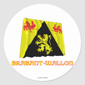 Walloon Brabant Waving Flag with Name Round Sticker
