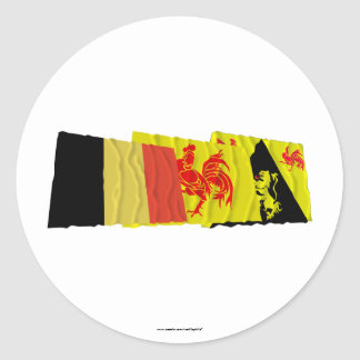 Walloon Brabant Waving Flags Trio Classic Round Sticker