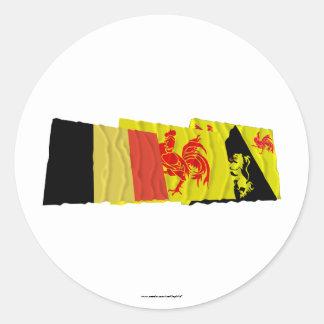 Walloon Brabant Waving Flags Trio Sticker