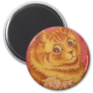 Wallpaper Cat and Kittens Artwork by Louis Wain 2 Inch Round Magnet