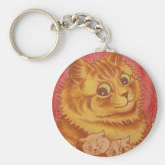 Wallpaper Cat and Kittens Artwork by Louis Wain Basic Round Button Keychain