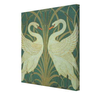 "Wallpaper Design for panel of ""Swan, Rush & Iris"" Canvas Print"