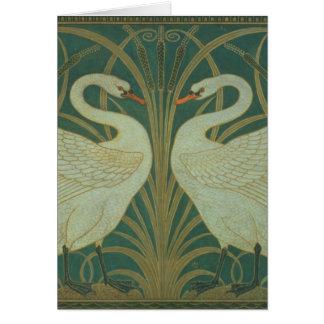"""Wallpaper Design for panel of """"Swan, Rush & Iris"""" Greeting Card"""