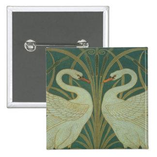"Wallpaper Design for panel of ""Swan, Rush & Iris"" Pinback Button"