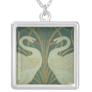 """Wallpaper Design for panel of """"Swan, Rush & Iris"""" Silver Plated Necklace"""