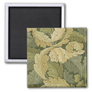 Wallpaper Design with Acanthus/Woodland colours, 1 2 Inch Square Magnet
