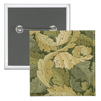 Wallpaper Design with Acanthus/Woodland colours, 1 Pinback Button