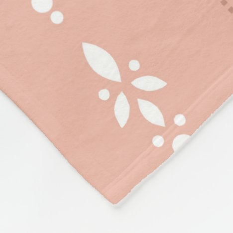 Wallpaper style salmon pink dainty floral striped fleece blanket