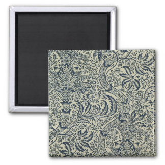 Wallpaper with navy blue seaweed style design 2 inch square magnet