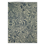 Wallpaper with navy blue seaweed style design card