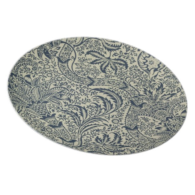 Wallpaper with navy blue seaweed style design dinner plate Zazzle  sc 1 st  Hotel Reservation & Hotel Reservation: Wallpaper with navy blue seaweed style design ...