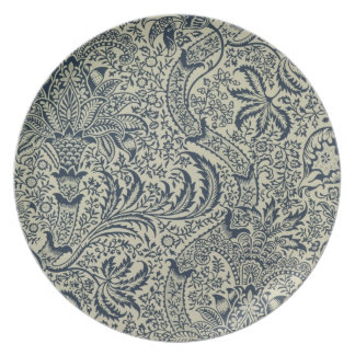 Wallpaper with navy blue seaweed style design dinner plate