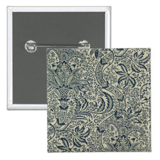 Wallpaper with navy blue seaweed style design pinback button