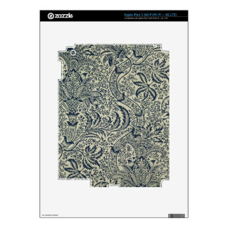 Wallpaper with navy blue seaweed style design skin for iPad 3