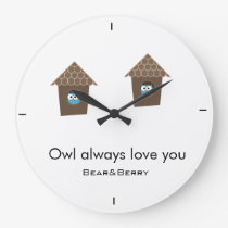 Wall's clock with little owls