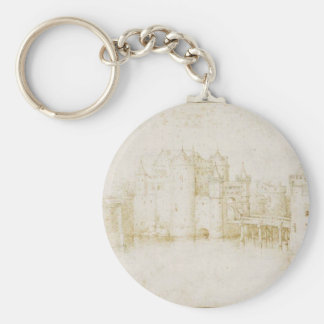 Walls Towers and Gates of Amsterdam by Pieter Basic Round Button Keychain