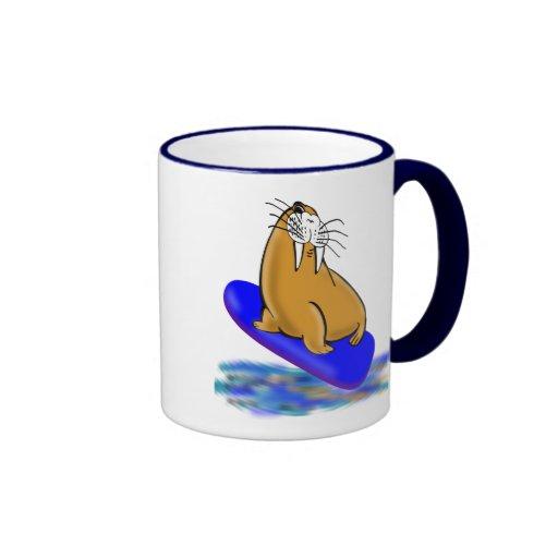 Wally The Walrus Goes Surfing Ringer Coffee Mug