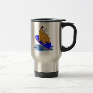 Wally The Walrus Goes Surfing Travel Mug