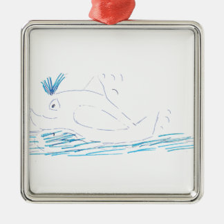Wally Whale Square Metal Christmas Decoration