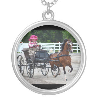 walnut hill carriage driving horse show silver plated necklace