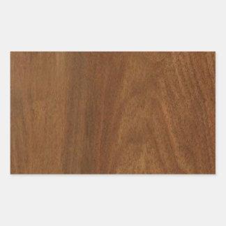 WALNUT WOOD American finish  blank blanche + TEXT Rectangular Sticker
