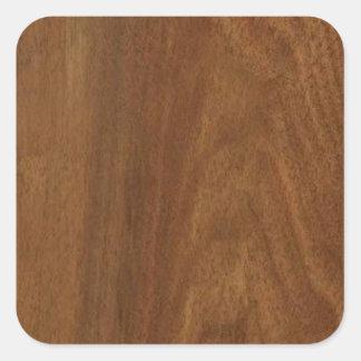 WALNUT WOOD American finish  blank blanche + TEXT Square Sticker