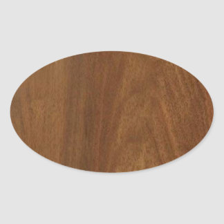 WALNUT WOOD American finish  blank blanche + TEXT Oval Stickers