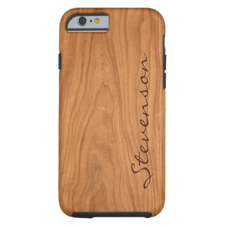 Walnut Wood Grain Look - Customize With You Name Tough iPhone 6 Case
