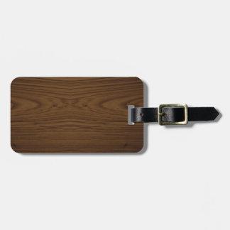 Walnut Wood Grain Luggage Tag w/leather tag