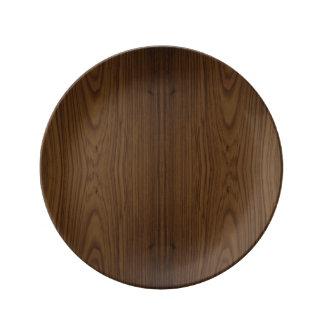 Walnut Wood Grain Porcelain Plate