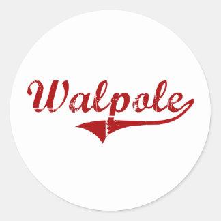 Walpole Massachusetts Classic Design Round Stickers