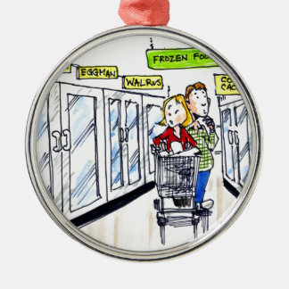 Walrus Frozen Food Section Funny Metal Ornament