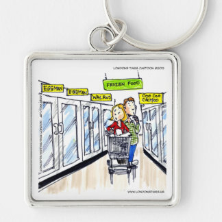 Walrus Frozen Food Section Funny Silver-Colored Square Keychain