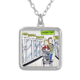 Walrus Frozen Food Section Funny Square Pendant Necklace