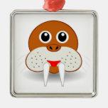 Walrus head cartoon square metal christmas ornament