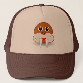 Walrus head cartoon trucker hat