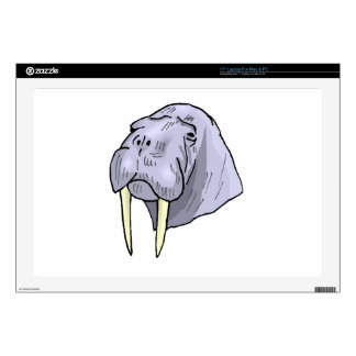 "Walrus Head Decals For 17"" Laptops"