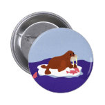 Walrus on Iceberg with Fish 2 Inch Round Button