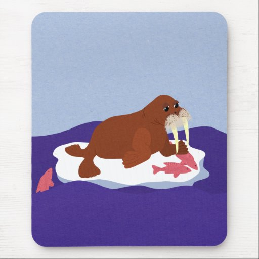 Walrus on Iceberg with Fish Mouse Pad