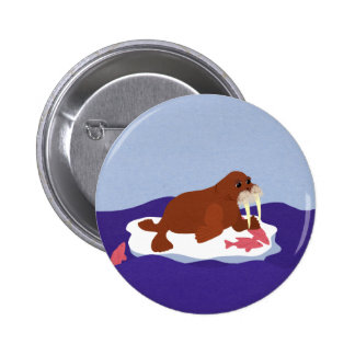 Walrus on Iceberg with Fish Pinback Button