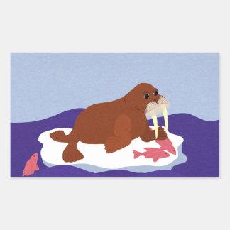 Walrus on Iceberg with Fish Rectangular Sticker