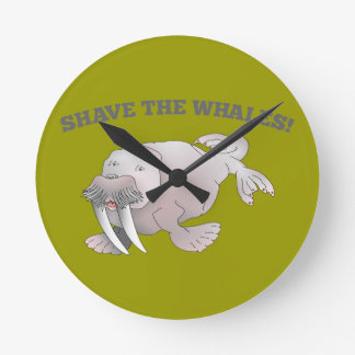 Walrus SHAVE THE WHALES Round Clocks