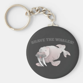 Walrus SHAVE THE WHALES Basic Round Button Keychain