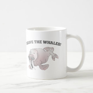 Walrus SHAVE THE WHALES Classic White Coffee Mug